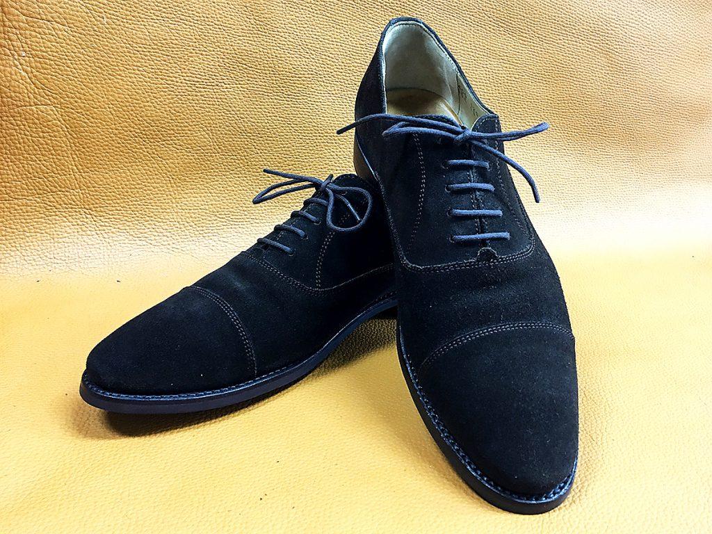 修理後のダイナイトソールのスエード靴