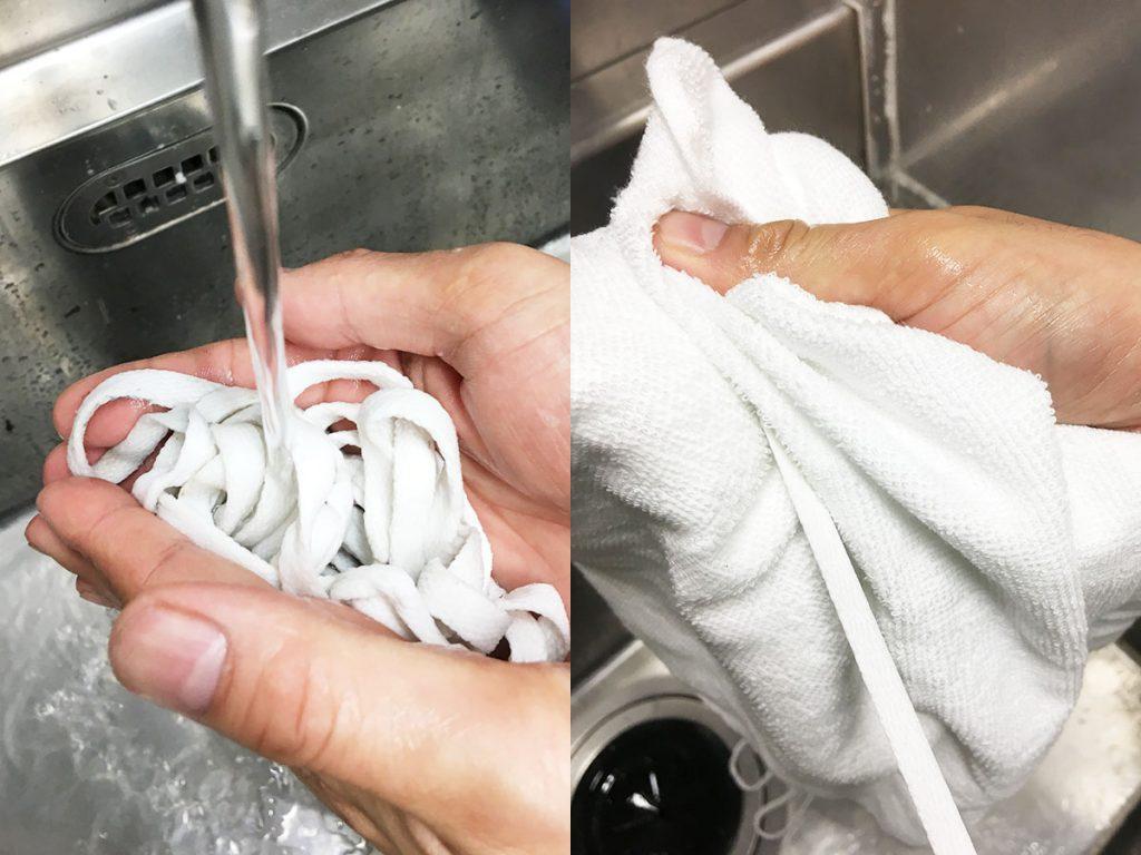 靴紐を洗う