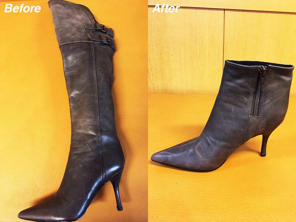 ロングブーツがショートブーツに生まれ変わるカスタム修理