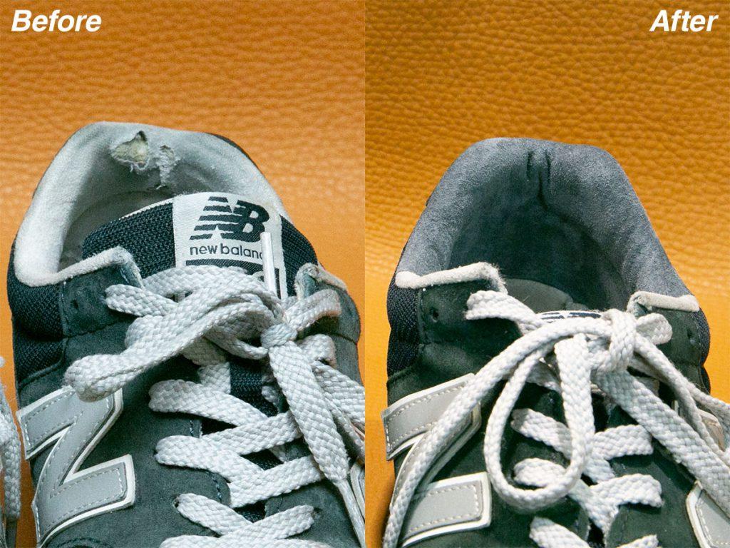 スニーカーのすべり革・すべり口の修理
